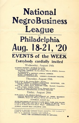 Flyer, National Negro Business League