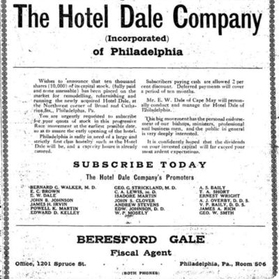 Hotel Dale Company Advertisement